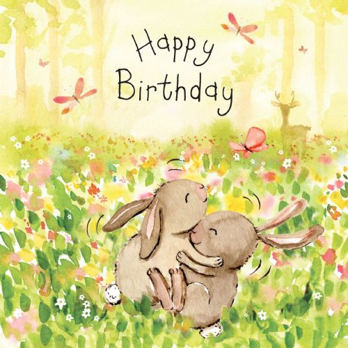 FIZ40 - Happy Birthday Card Bunnies
